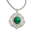 Estate Jewelry:Pendants and Lockets, Emerald, Diamond, White Gold Pendant-Brooch-Necklace. ...