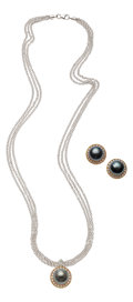 Estate Jewelry:Suites, South Sea Cultured Pearl, Diamond, Gold Jewelry Suite. ...