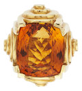 Estate Jewelry:Rings, Citrine, Gold Ring. ...