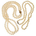Estate Jewelry:Necklaces, Cultured Pearl, Gold, White Gold Necklaces. ... (Total: 2 Items)