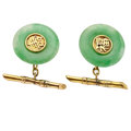 Estate Jewelry:Cufflinks, Antique Jade, Gold Cuff Links. ...
