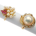 Estate Jewelry:Rings, Mabe Pearl, Freshwater Cultured Pearl, Diamond, Ruby, Gold Rings. ...