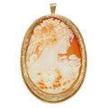 Estate Jewelry:Cameos, Shell Cameo, Gold Pendant. ...