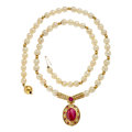 Estate Jewelry:Necklaces, Ruby, Diamond, Cultured Pearl Imitation, Gold Necklace. ...