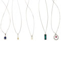 Estate Jewelry:Necklaces, Multi-Stone, White Gold Pendant-Necklaces. ... (Total: 5 Items)