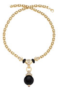 Estate Jewelry:Necklaces, Diamond, Ruby, Black Onyx, Gold Necklace. ...