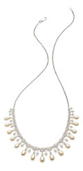 Estate Jewelry:Necklaces, Diamond, Freshwater Pearl, White Gold Necklace. ...