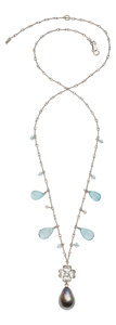 Estate Jewelry:Necklaces, Cultured Pearl, Aquamarine, Diamond, White Gold Necklace . ...