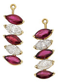 Estate Jewelry:Other , Diamond, Ruby, Gold Earring Pendants. ...