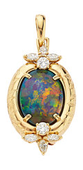 Estate Jewelry:Pendants and Lockets, Black Opal, Diamond, Gold Pendant-Brooch, Neiman Marcus. ...