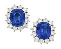 Estate Jewelry:Earrings, Sapphire, Diamond, Platinum Earrings, Piranesi. ...