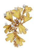 Estate Jewelry:Brooches - Pins, Diamond, Gold Clip-Brooch, French. ...