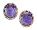 Estate Jewelry:Earrings, Tanzanite, Diamond, Pink Gold Earrings. ...