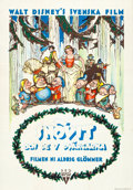 Animation Art:Poster, Snow White and the Seven Dwarfs Swedish Movie Poster (Disney, 1937)....