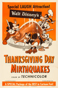 "Animation Art:Poster, ""Thanksgiving Day Mirthquakes"" Mickey Mouse Movie Poster (WaltDisney, 1953)...."