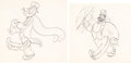 Animation Art:Production Drawing, Popeye the Sailor Man Popeye and Bluto Animation DrawingGroup of 2 (Fleischer, 1930s).... (Total: 2 Original Art)