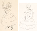 Animation Art:Production Drawing, Uncle Tom's Cabana Little Eva Animation Drawing Group of 2(MGM, 1947).... (Total: 2 Items)