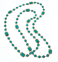 """Chanel Green Crystal and Gold Sautoir Necklace Very Good Condition 60"""" Length x .5"""" Width"""
