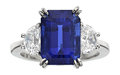 Estate Jewelry:Rings, Sapphire, Diamond, Platinum Ring, Neiman Marcus. ...