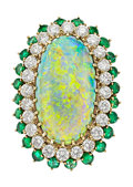 Estate Jewelry:Rings, Opal, Diamond, Emerald, Gold Ring, Herbert Bushell & Co., English. ...