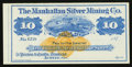 Obsoletes By State:Nevada, Austin, NV-Manhattan Silver Mining Co. $10 187_ Remainder. ...