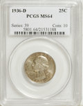Washington Quarters, 1936-D 25C MS64 PCGS....