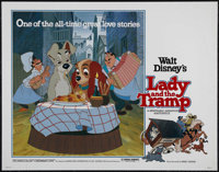 "Lady and the Tramp (Buena Vista, R-1980). Half Sheet (22"" X 28""). Animated Musical. Directed by Clyde Geronimi..."