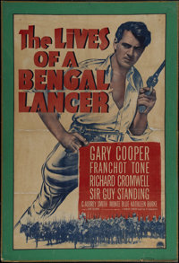 "The Lives of a Bengal Lancer (Paramount, R-1950's). One Sheet (25"" X 39""). Adventure. Directed by Henry Hathaw..."