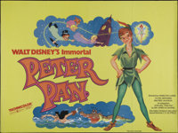 "Peter Pan (Buena Vista, R-1970s). British Quad (30"" X 40""). Children's. Directed by Clyde Geronimi, Wilfred Ja..."