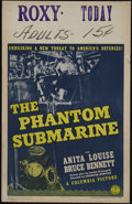 "Movie Posters:Adventure, The Phantom Submarine (Columbia, 1940). Window Card (14"" X 22"").Adventure. Directed by Charles Barton. Starring Anita Louis..."