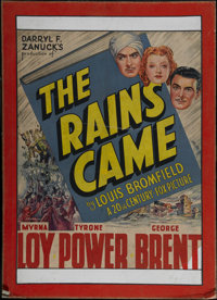 "The Rains Came (20th Century Fox, 1939). One Sheet (25.5"" X 33""). Drama. Directed by Clarence Brown. Starring..."