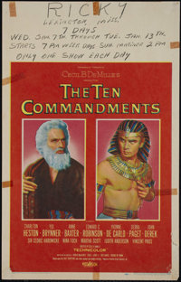 """The Ten Commandments (Paramount, 1956). Window Card (14"""" X 22""""). Drama. Directed by Cecil B. DeMille. Starring..."""