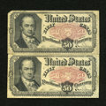 Fractional Currency:Fifth Issue, Fr. 1380 50c Fifth Issue Very Good-Fine. This pair of Crawfords is quite pleasing.. ... (Total: 2 notes)