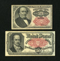 Fractional Currency:Fifth Issue, Fr. 1309 25c Fifth Issue About New. Fr. 1381 50c Fifth Issue.XF.... (Total: 2 notes)