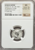 Ancients:Roman Imperial, Ancients: Diva Faustina I (died AD 140/141). AR denarius (3.63gm)....