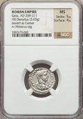 Ancients:Roman Imperial, Ancients: Geta as Caesar (AD 198-209). AR denarius (3.65 gm)....