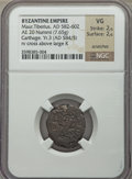 Ancients:Byzantine, Ancients: Maurice Tiberius (AD 582-602). AE half-follis (7.65gm)....