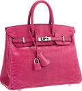 "Luxury Accessories:Bags, Hermes 25cm Fuchsia Lizard Birkin Bag with Palladium Hardware.Very Good Condition. 9.5"" Width x 8"" Height x 5""Depth..."