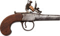 Handguns:Derringer, Palm, London Marked Flintlock Muff Pistol....