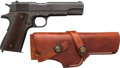 Handguns:Semiautomatic Pistol, Remington Rand Model 1911 A1 U.S. Army Semi-Automatic Pistol withLeather Holster....