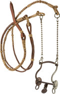 Western Expansion:Cowboy, Engraved Bit with Braided Leather Headstall....