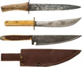 Edged Weapons:Knives, Lot of 3 Primitive Made Bowie Knives. ...