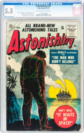 Golden Age (1938-1955):Horror, Astonishing #38 (Atlas, 1955) CGC FN- 5.5 Off-white to whitepages....
