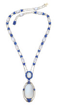 Estate Jewelry:Necklaces, Montana Sapphire, Moonstone, Platinum Necklace, by Louis Comfort Tiffany, Tiffany & Co.. ...
