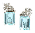 Estate Jewelry:Earrings, Aquamarine, Diamond, White Gold Earrings, H. Stern. ...