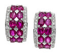 Estate Jewelry:Earrings, Ruby, Diamond, White Gold Earrings. ...