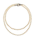 Estate Jewelry:Necklaces, Cultured Pearl, Ruby, White Gold Necklace. ...