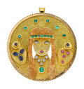 Estate Jewelry:Pendants and Lockets, Diamond, Multi-Stone, Gold Pendant-Brooch. ...