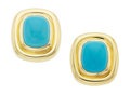 Estate Jewelry:Earrings, Turquoise, Gold Earrings, Paloma Picasso for Tiffany & Co.. ...