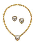 Estate Jewelry:Suites, Mabe Pearl, Diamond, Gold Jewelry Suite. ...